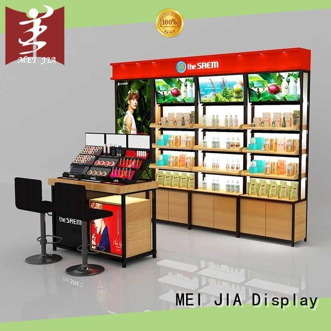 MEI JIA Display fashional beauty display stands wall for exclusive shop