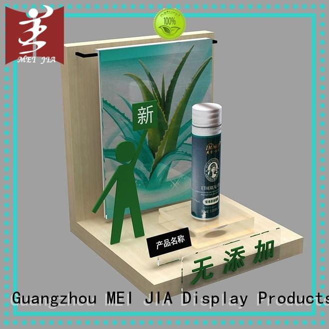 MEI JIA Display fashional custom acrylic display stands wood for shoppe