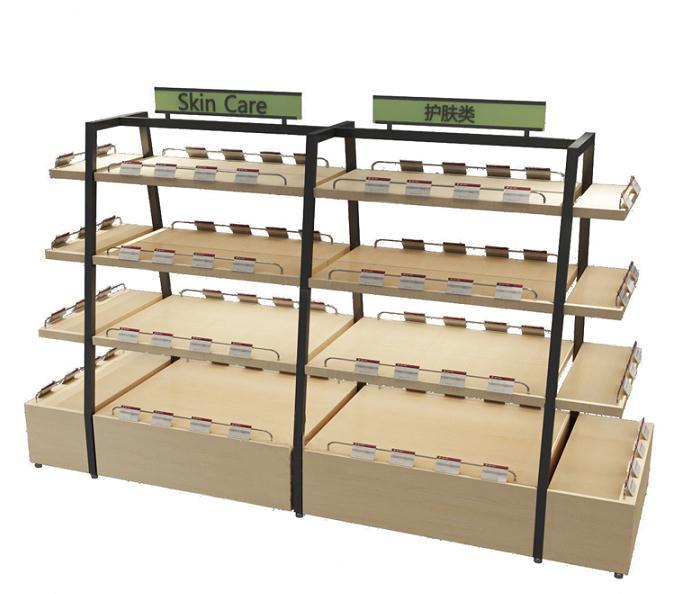 Four tiers display shelving with storage